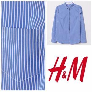 H&M button down shirt XS blue stripes